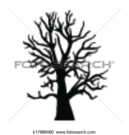 Clipart of Silhouette old dry wood k17886580.
