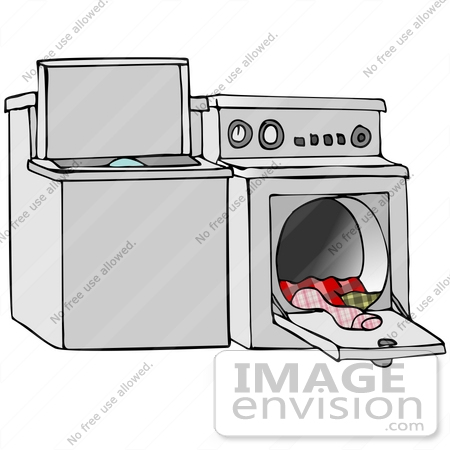 Clip Art Graphic of Laundry Pouring Out Of A Dryer.