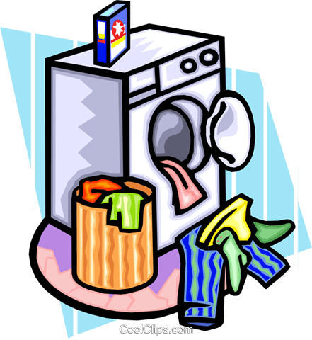 clothes in dryer Royalty Free Vector Clip Art illustration.