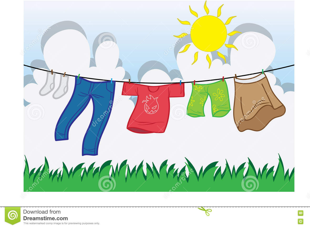 Drying Clothes Under The Sun Clipart.