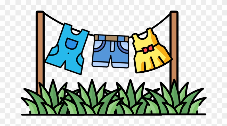 Dry Your Clothes On A Drying Rack Or A Clothesline Clipart.