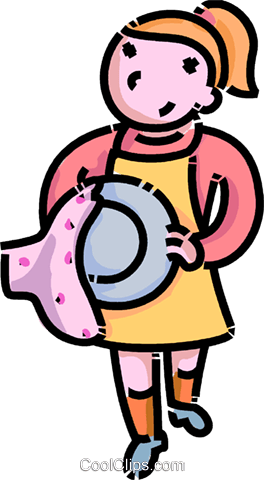 girl drying dishes Royalty Free Vector Clip Art illustration.