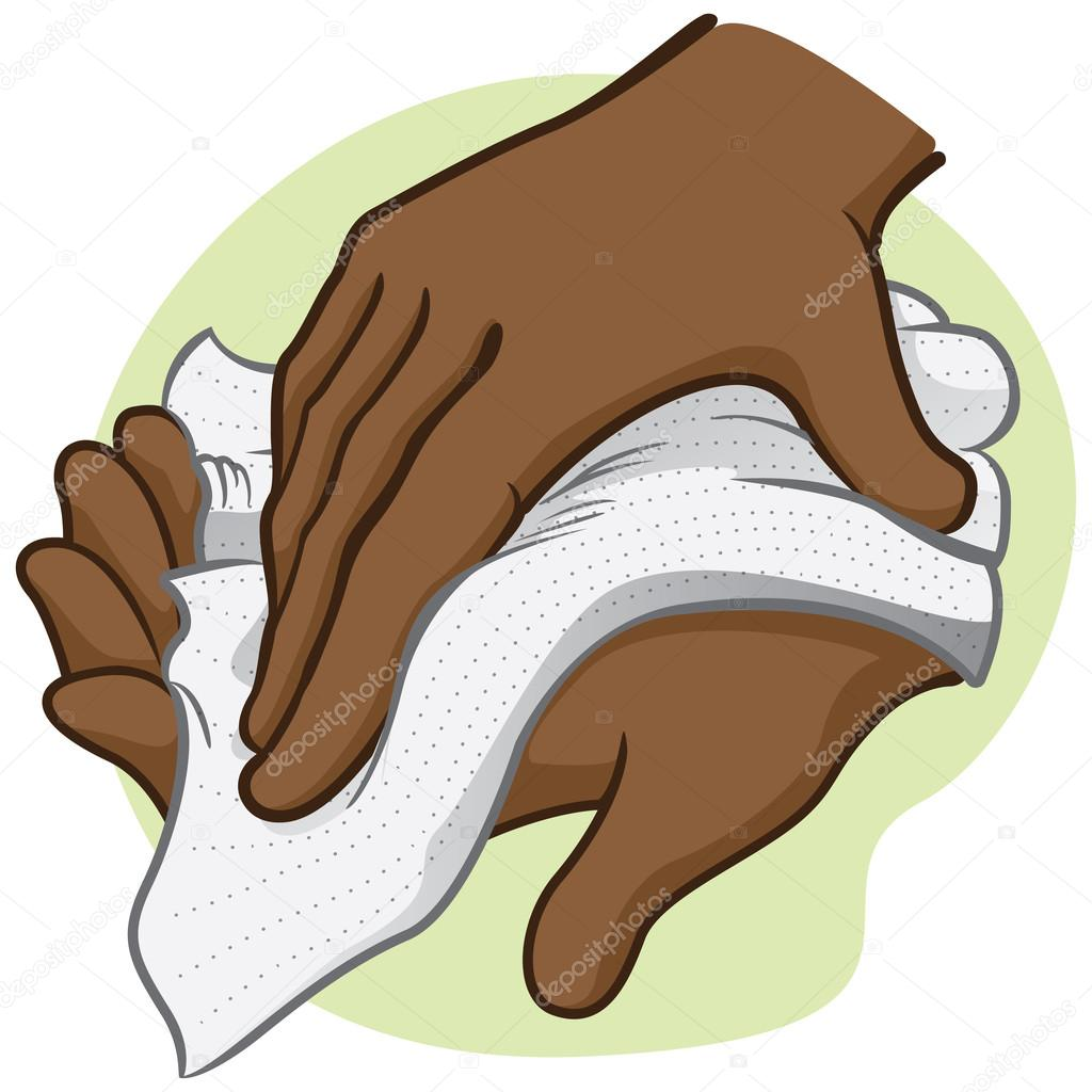 Illustration of a person wiping and wiping his hands with a paper.