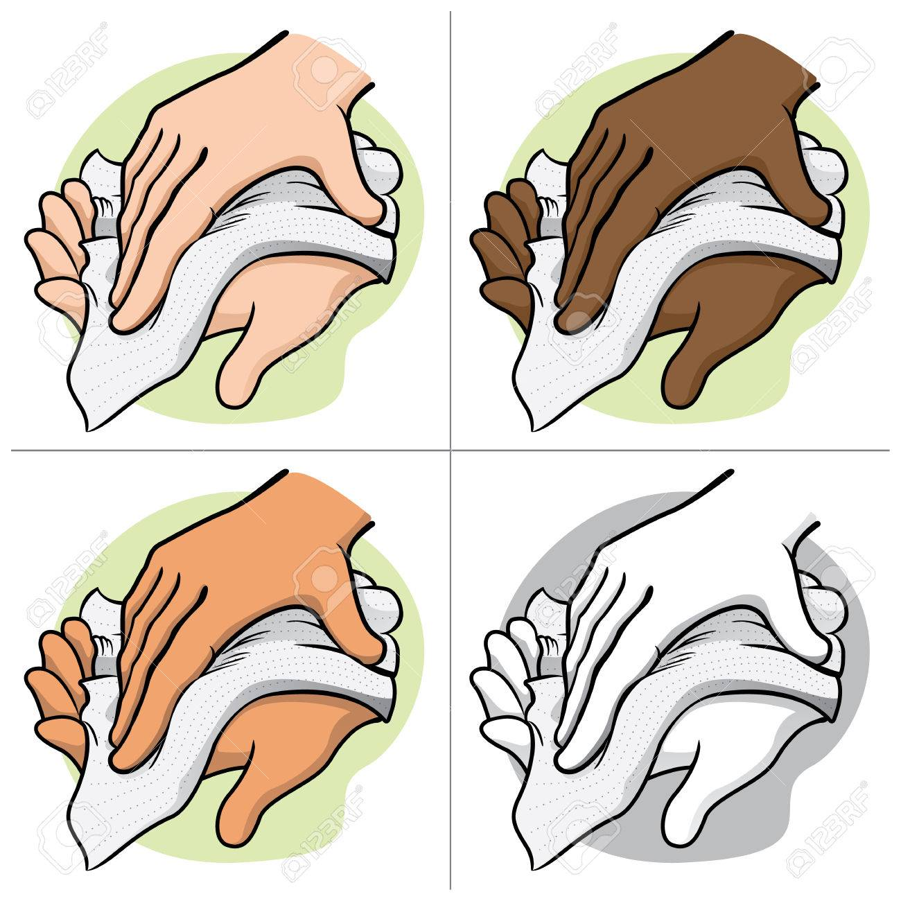 Illustration of a person wiping and wiping his hands with a paper...