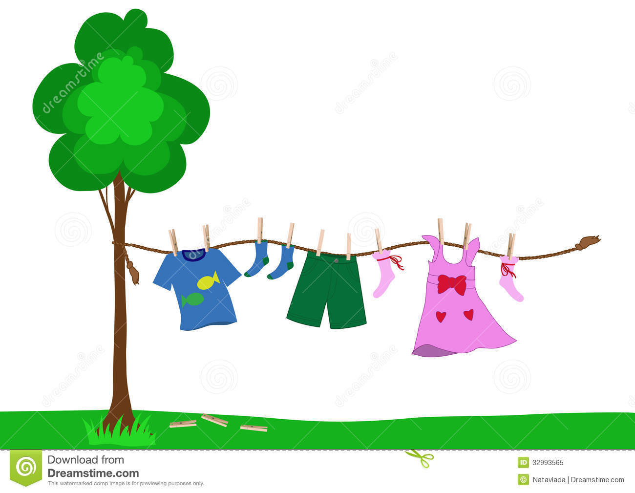 Small Kid Clothes Drying On A Rope Royalty Free Stock Photo.