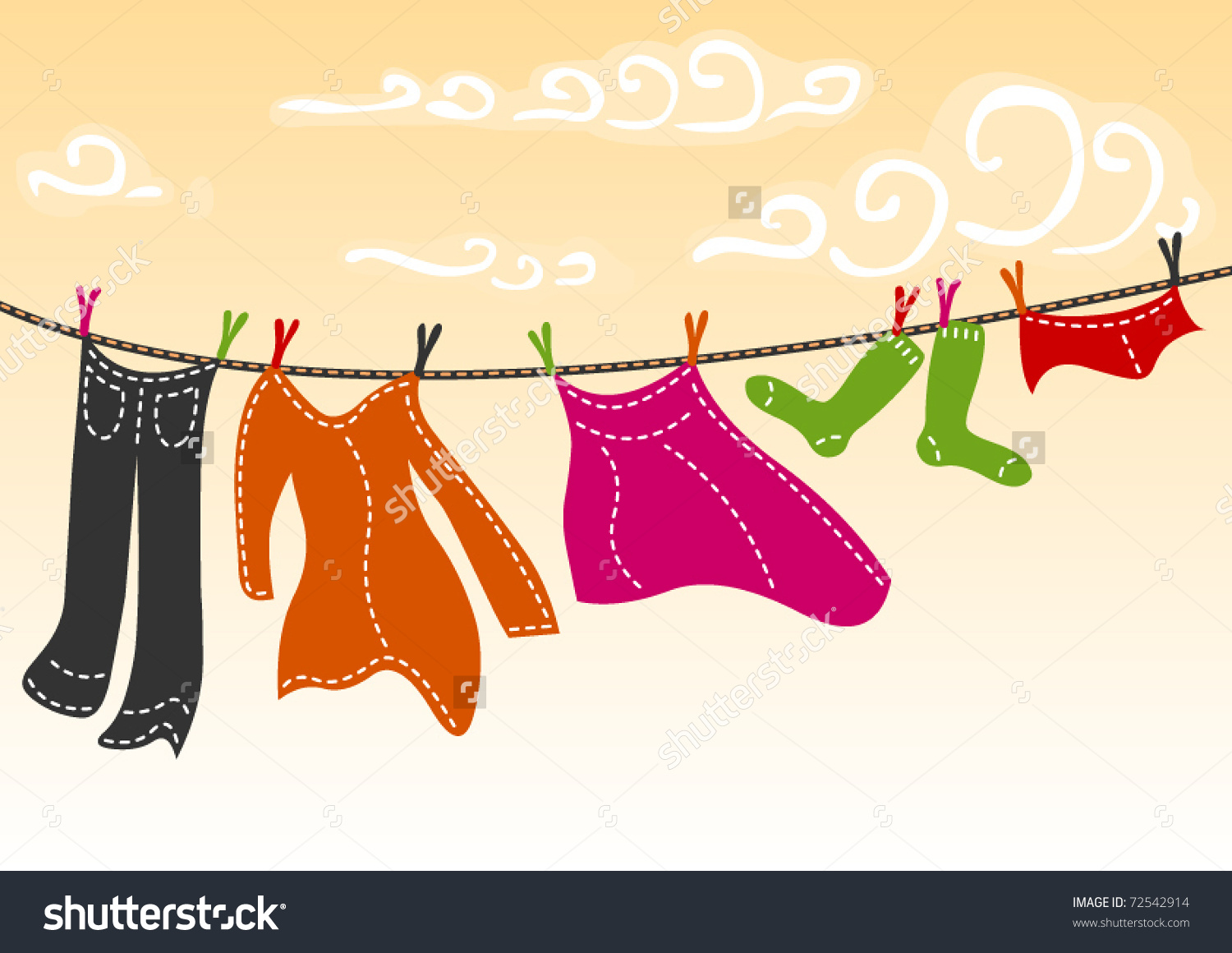 Colorful Clothes Drying Stock Vector 72542914.