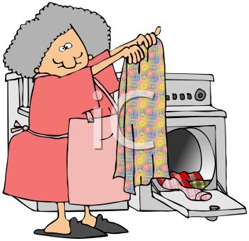 Royalty Free Clip Art Image: Old Lady Taking Clothes Out of a Dryer.