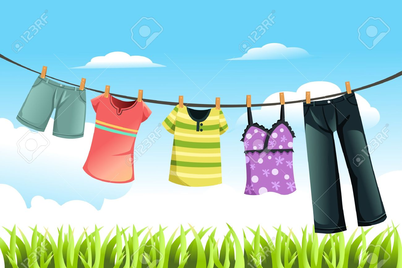 Laundry Drying Outside Clip Art.