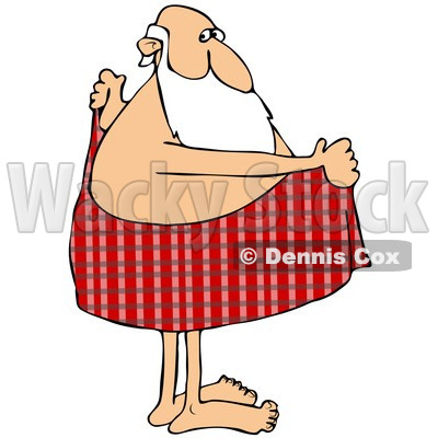 of Santa Drying off with a Red Plaid Towel.