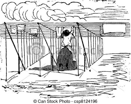 Clip Art Vector of Woman putting clothes outside for drying by air.