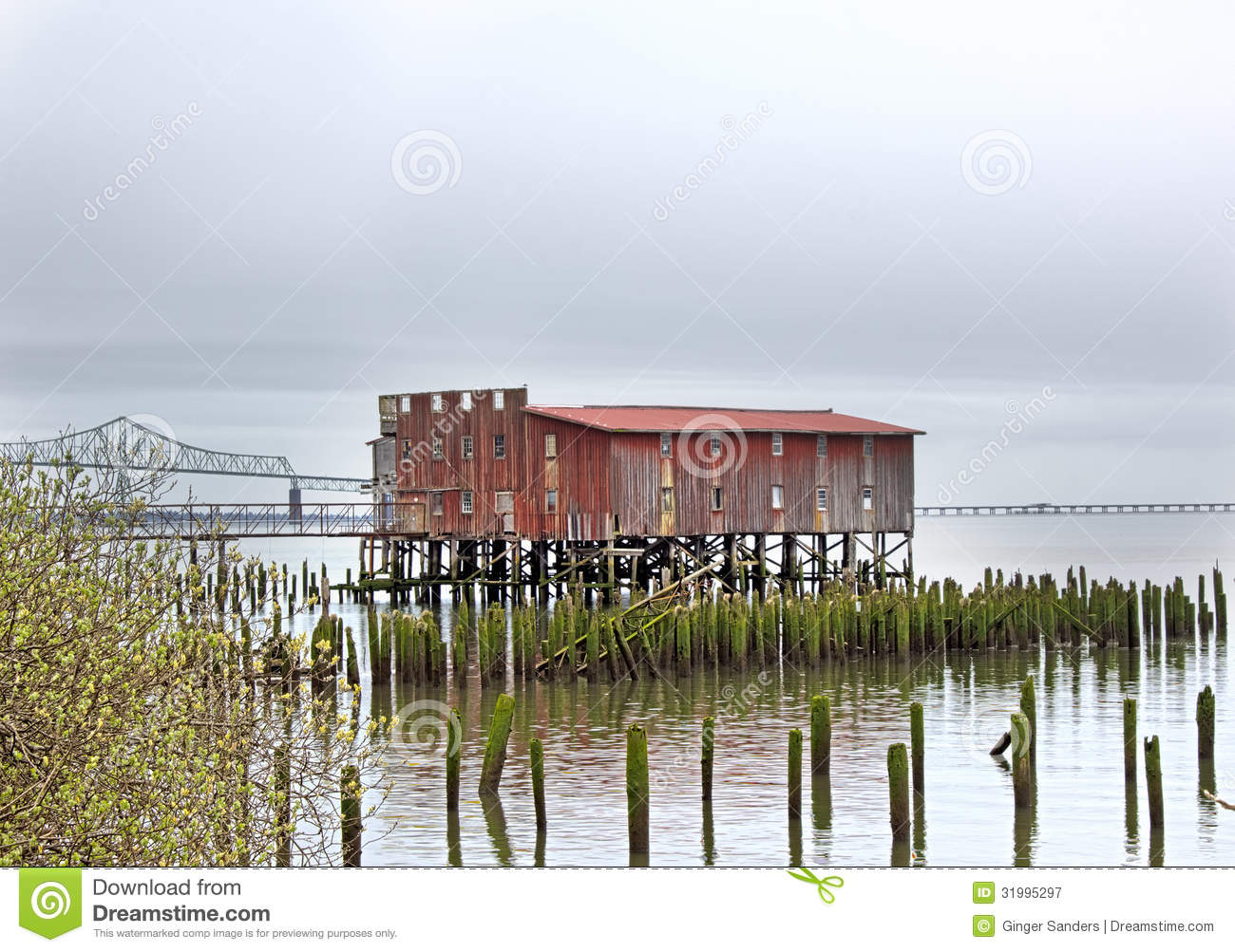 Vintage Red Fishing Net Drying Shed Royalty Free Stock Photography.