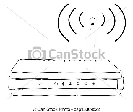 Vector Illustration of Wireless router on a white background.