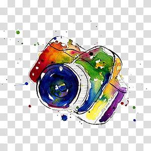 Cameras, multicolored DSLR camera painting transparent.