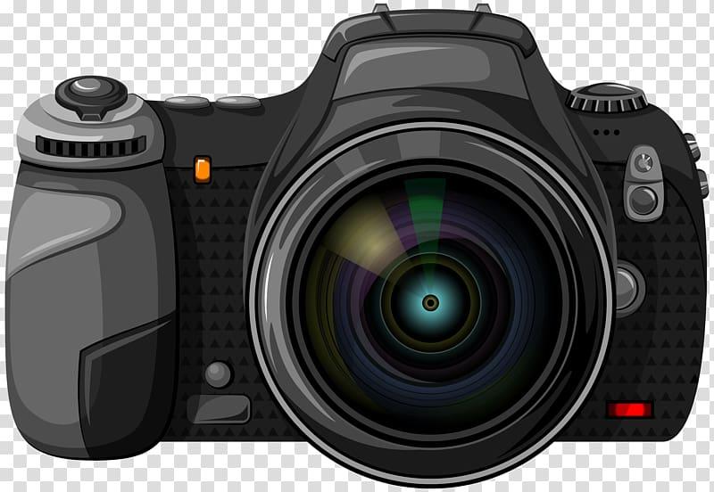 Black DSLR camera , Paper Camera Business card grapher.