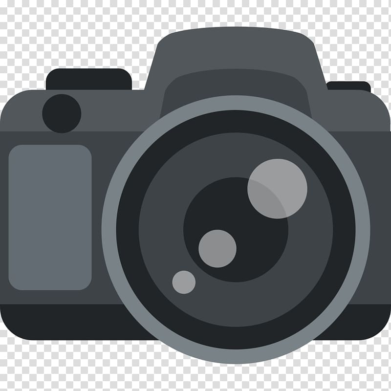Black DSLR camera illustration, Emoji graphic film Camera.