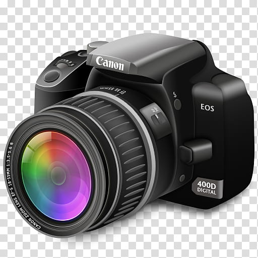 Camera Icon, Camera Color Lens_x, black Canon EOS camera.