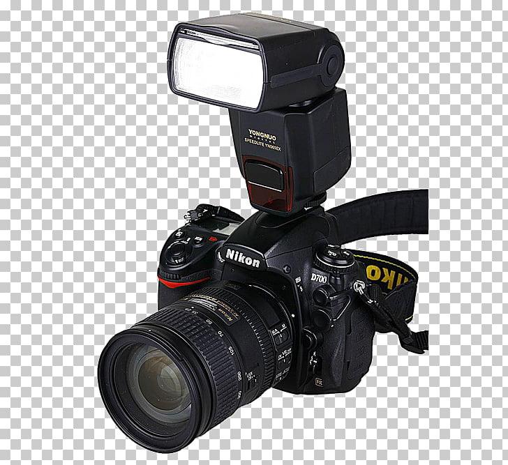 Digital SLR Flash Camera Photography, Camera with flash, black Nikon.