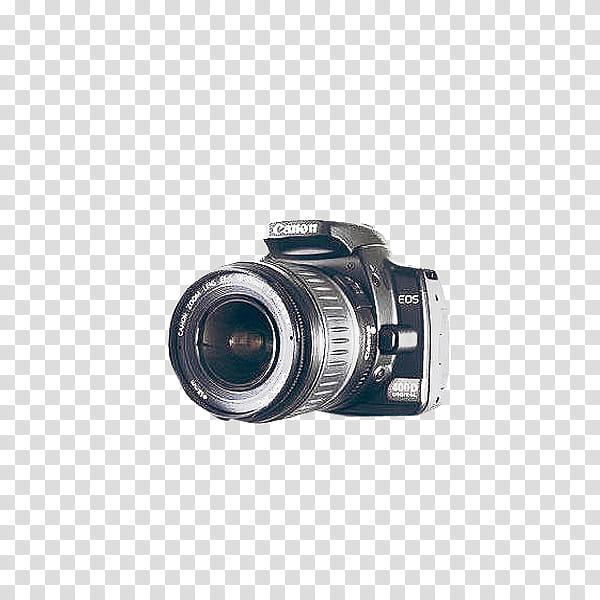 Cameras, black Canon EOS DSLR camera transparent background PNG.