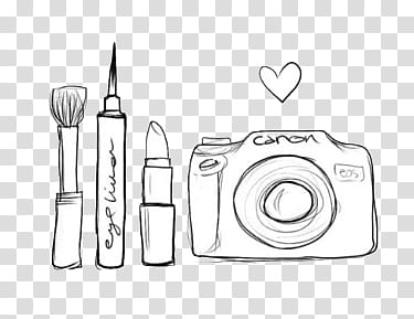 Doodles and Drawing , white Canon DSLR camera illustration.