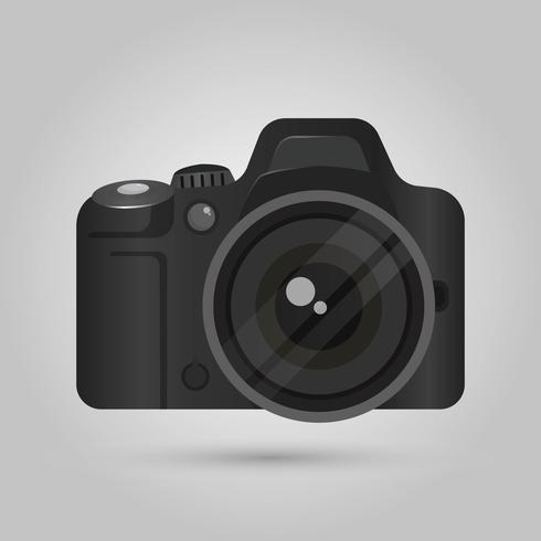 Realistic DSLR Camera Front View With Gradient background.