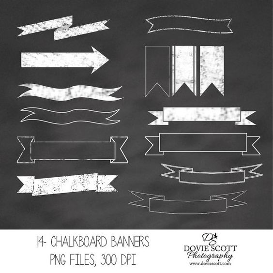 Chalkboard Banners Digital Clipart by DovieScottPhoto on Etsy.
