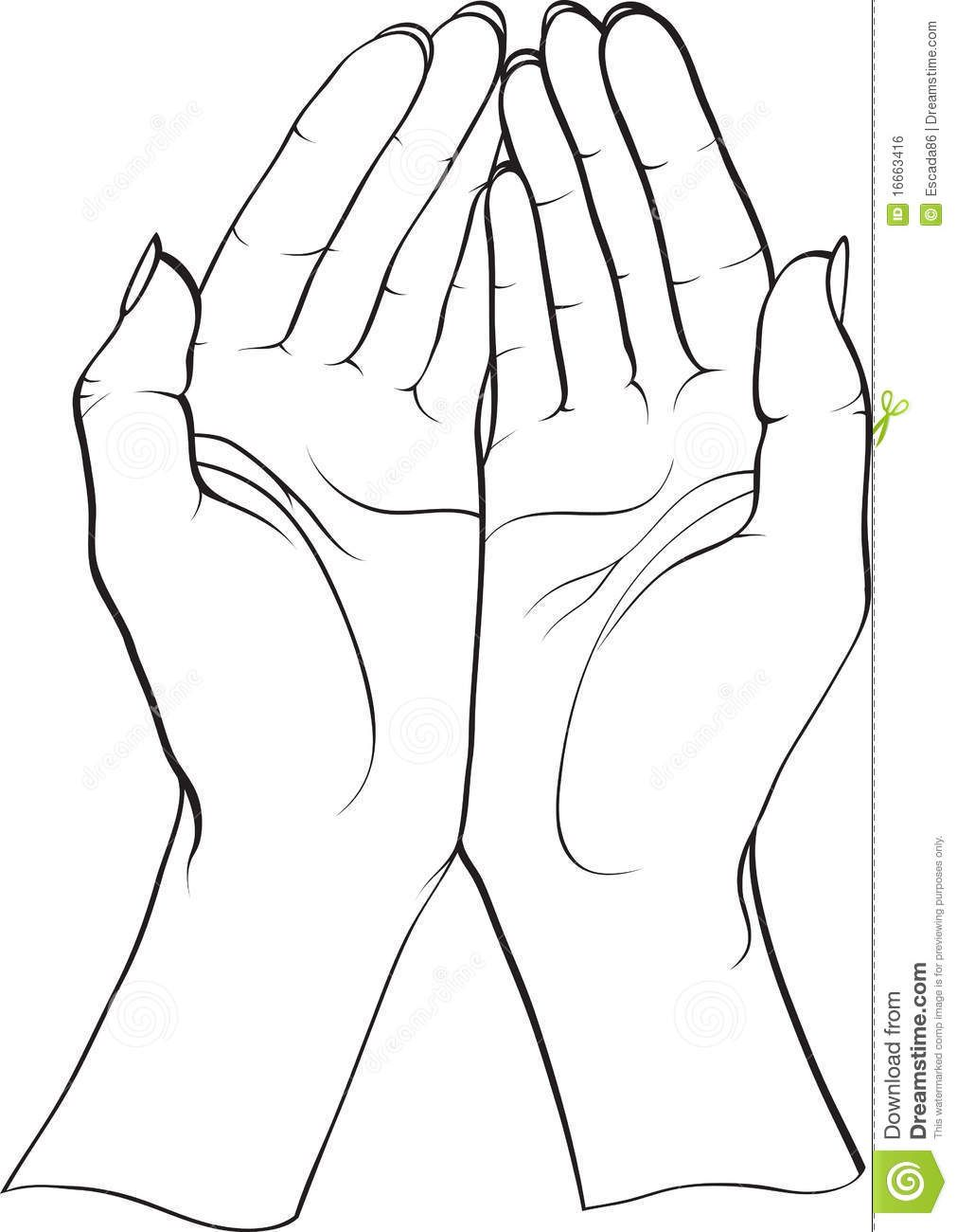 How To Draw Open Cupped Hands.