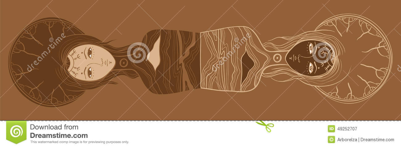 Vector Illustration Of Twins, Yin And Yang, Body And Soul, Dualism.