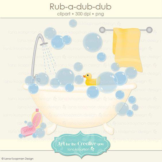 Bathtub Digital Clipart, Rub.