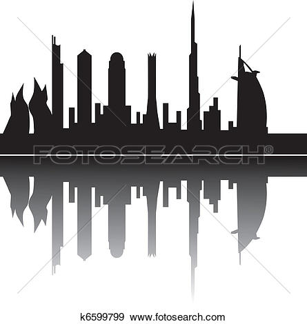 Clip Art of dubai by night k6599799.