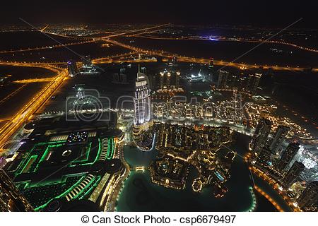 Picture of Aerial view of downtown Dubai at night csp6679497.