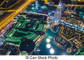 Stock Photography of Aerial view of downtown Dubai at night.