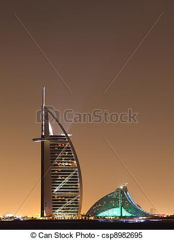 Stock Images of Dubai landmarks at night, United Arab Emirates.
