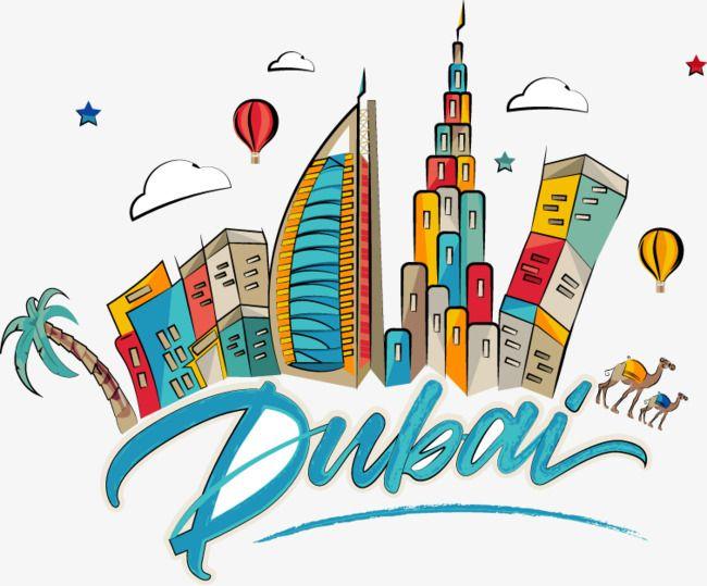 Cartoon Dubai City Building, Cartoon, Vector, Dubai PNG.