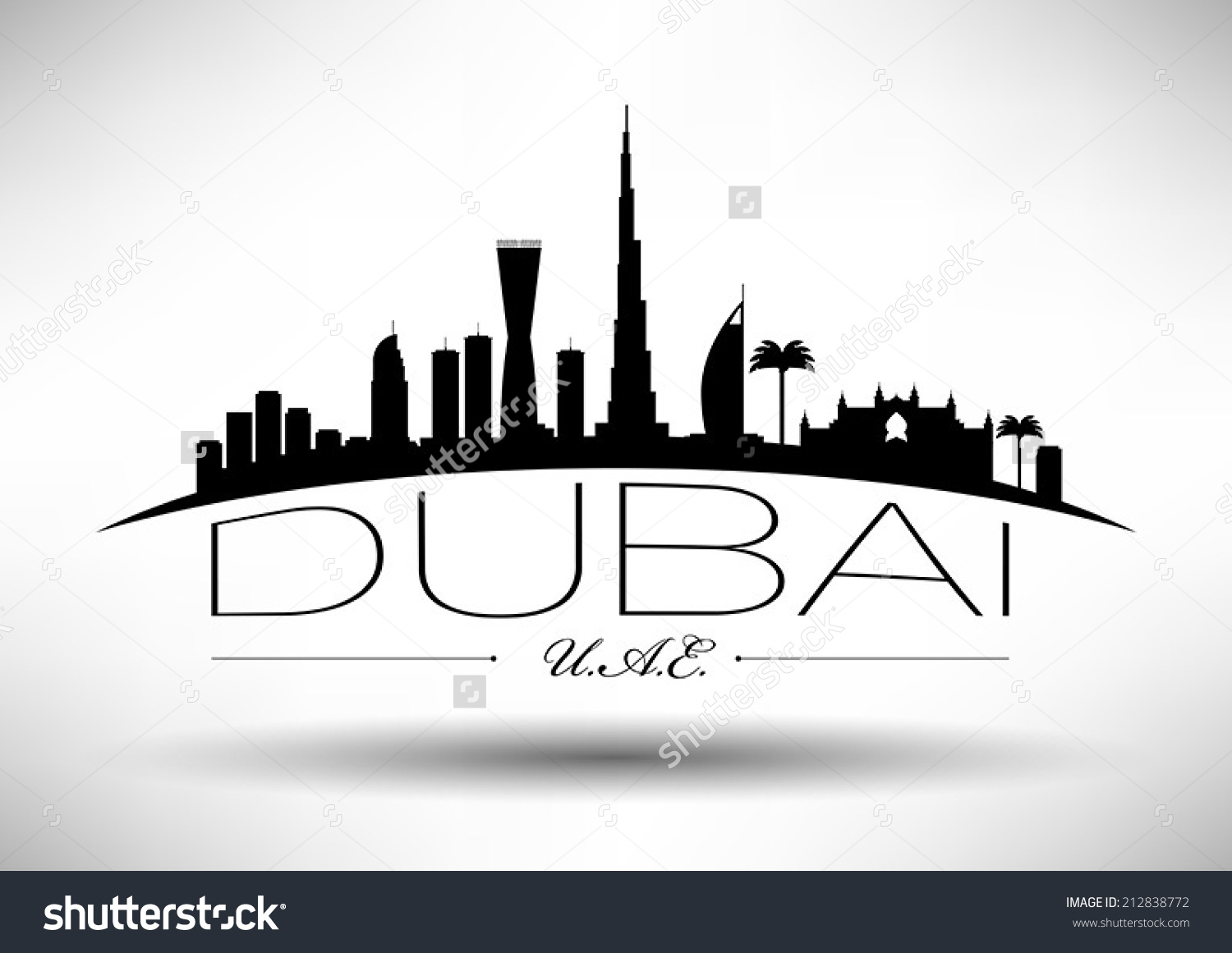 Dubai Skyline Typography Design Stock Vector 212838772.