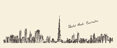 Dubai Vector Skyline Royalty Free Stock Image.