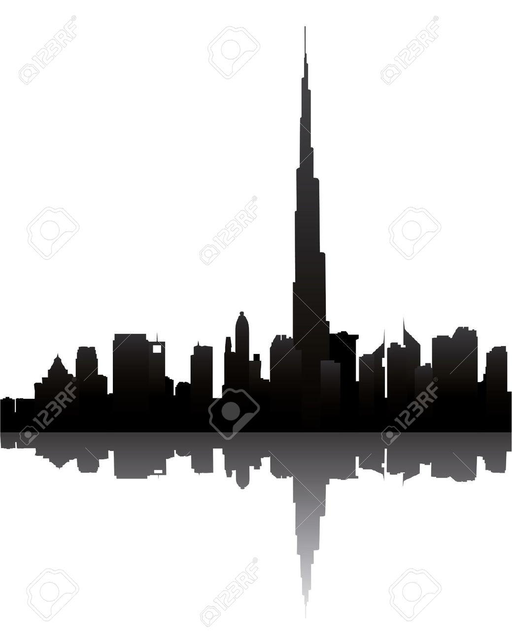 Dubai Skyline With Burj Dubai Royalty Free Cliparts, Vectors, And.