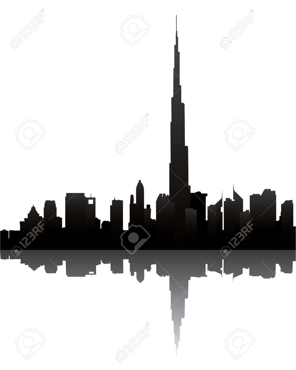 Dubai Skyline With Burj Dubai Royalty Free Cliparts, Vectors, And.