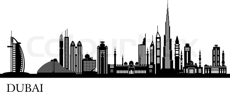 Dubai Skyline Cartoon.
