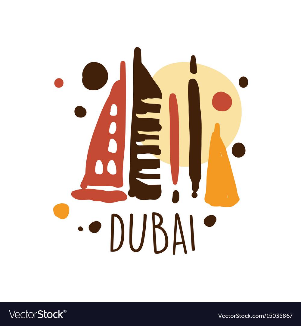 Dubai tourism logo template hand drawn.