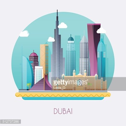 Dubai. Skyline and vector landscape of buildings and famous.