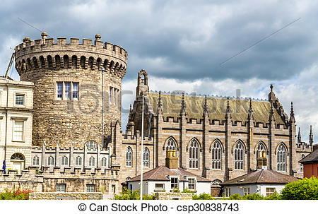 Stock Photo of View of Dublin Castle froom Dubh Linn.