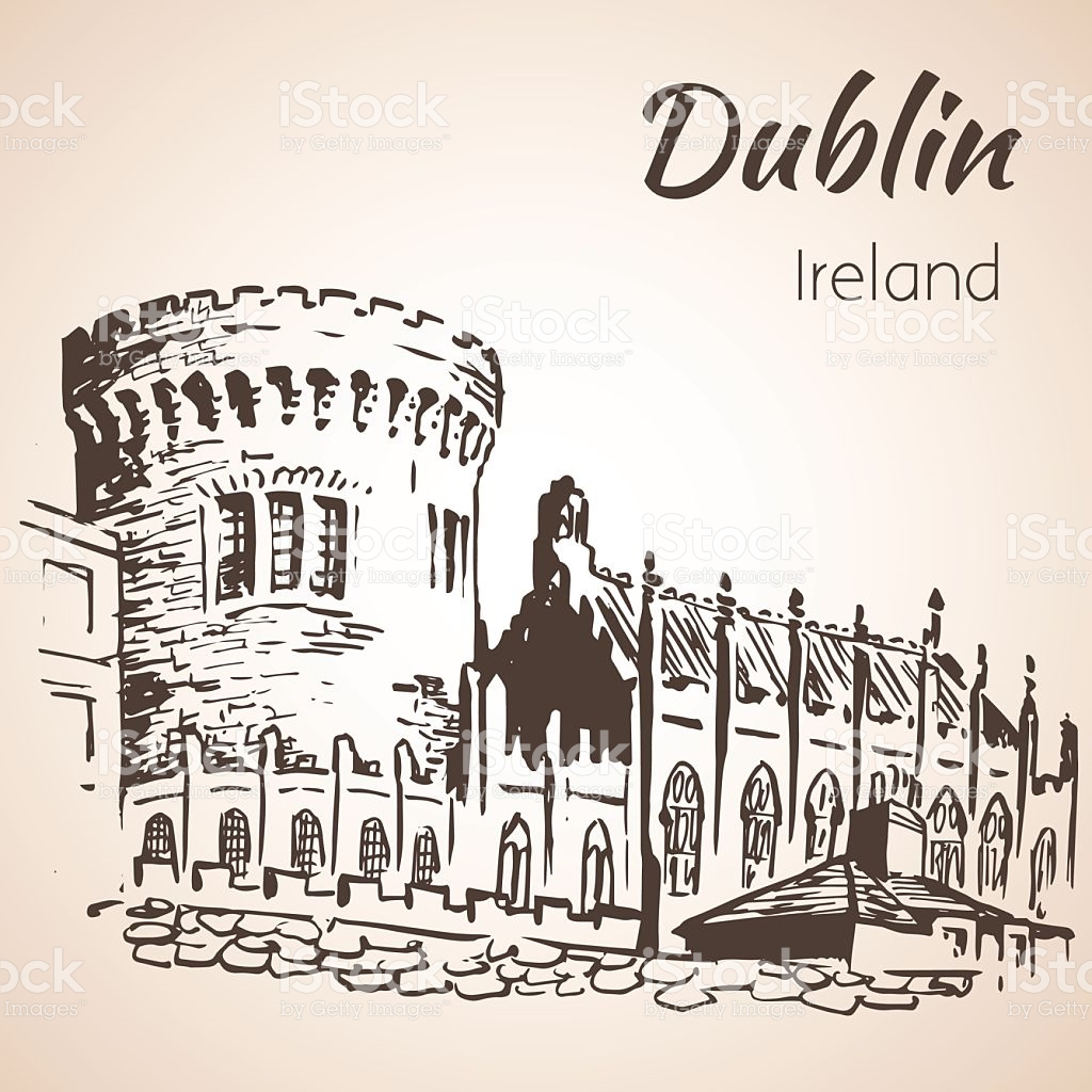 Dublin Castle Ireland stock vector art 584586356.