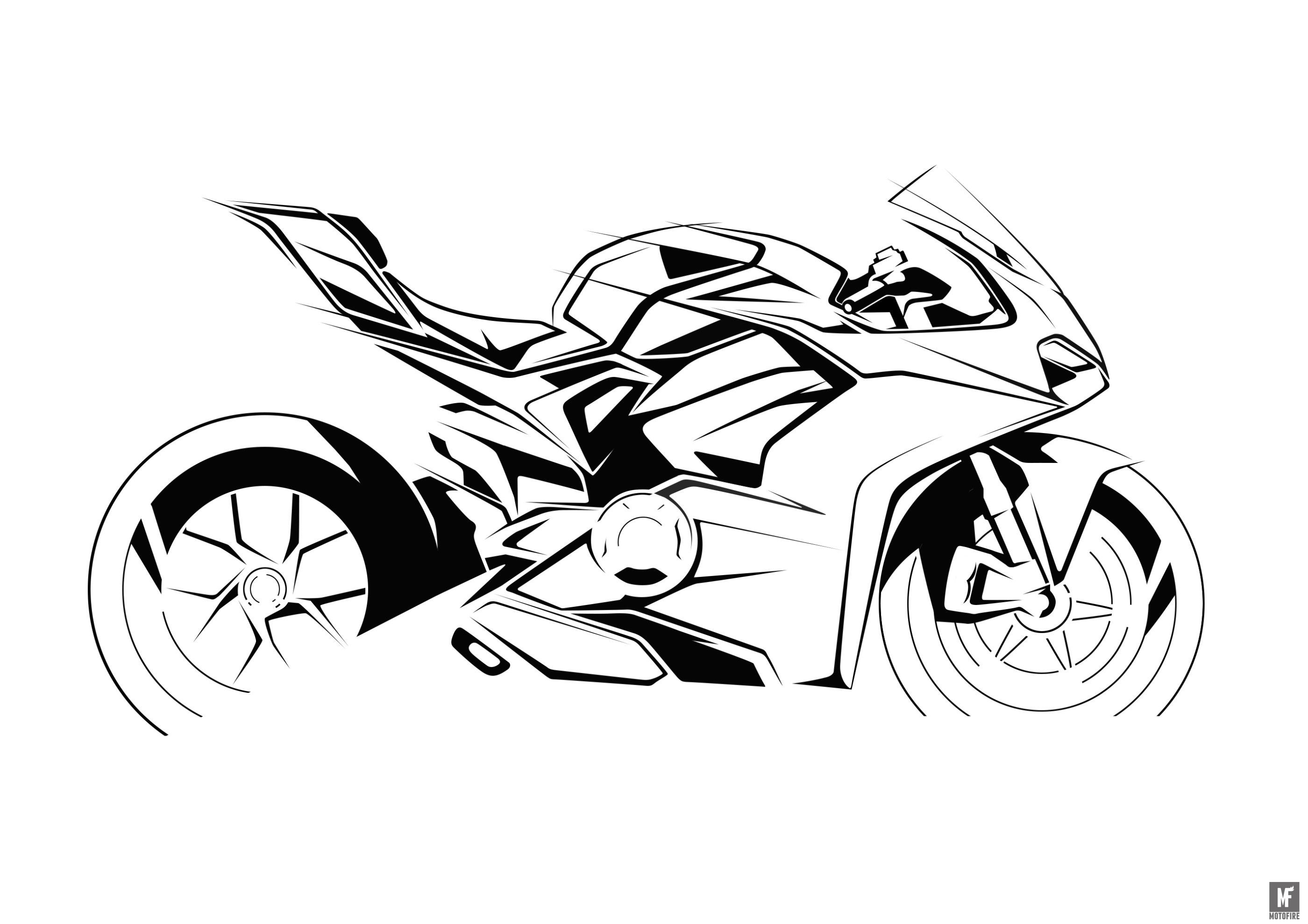 The design sketches for the Ducati Panigale V4 are stunning.