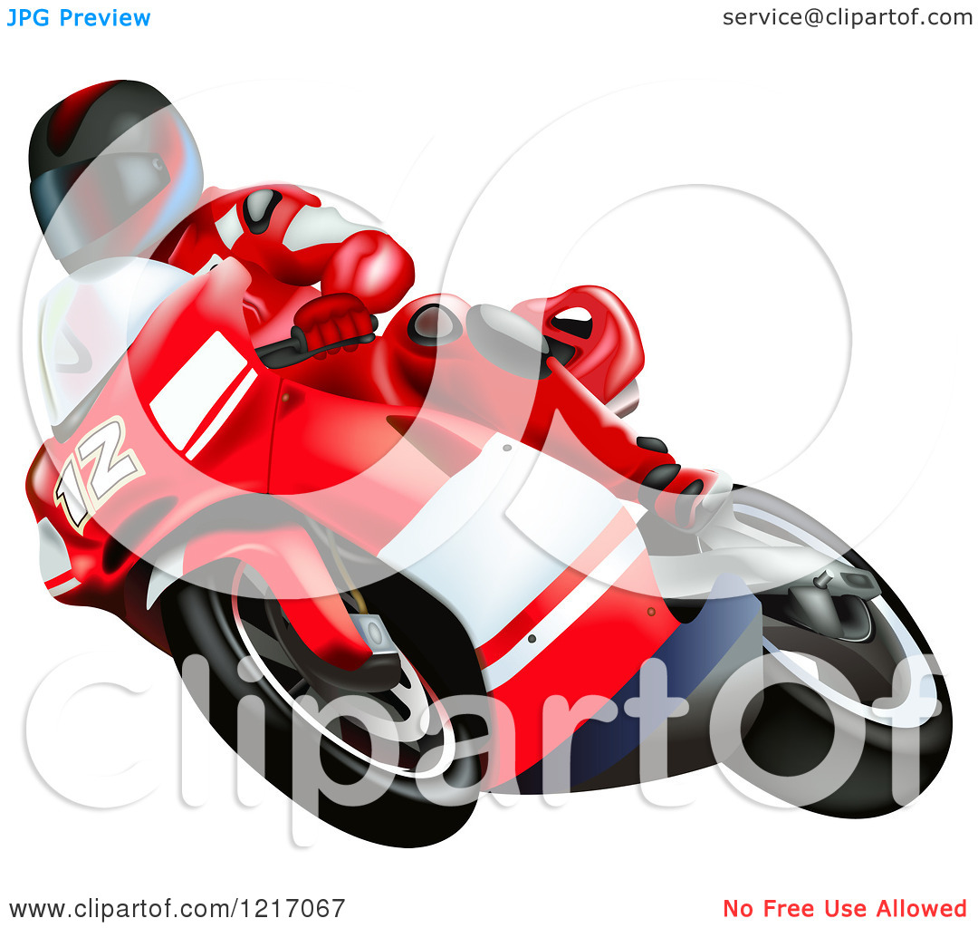 Clipart of a Rider on a Ducati Bike.