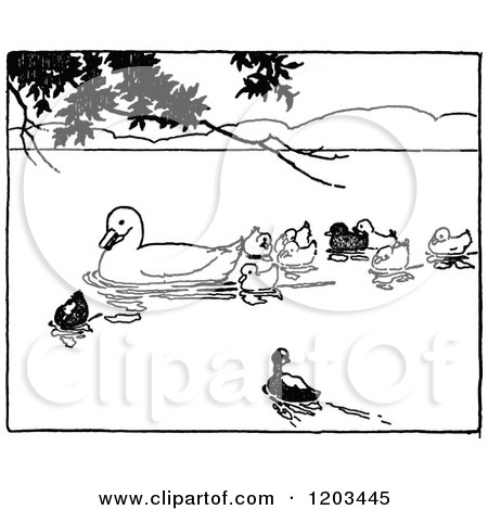 Clipart of a Vintage Black and White Mother Duck and Ducklings.