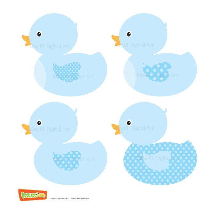 Duck Digital Clipart Clip Art Blue Baby Boy Shower Party.