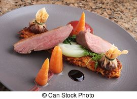 Pictures of pan fried duck breast.