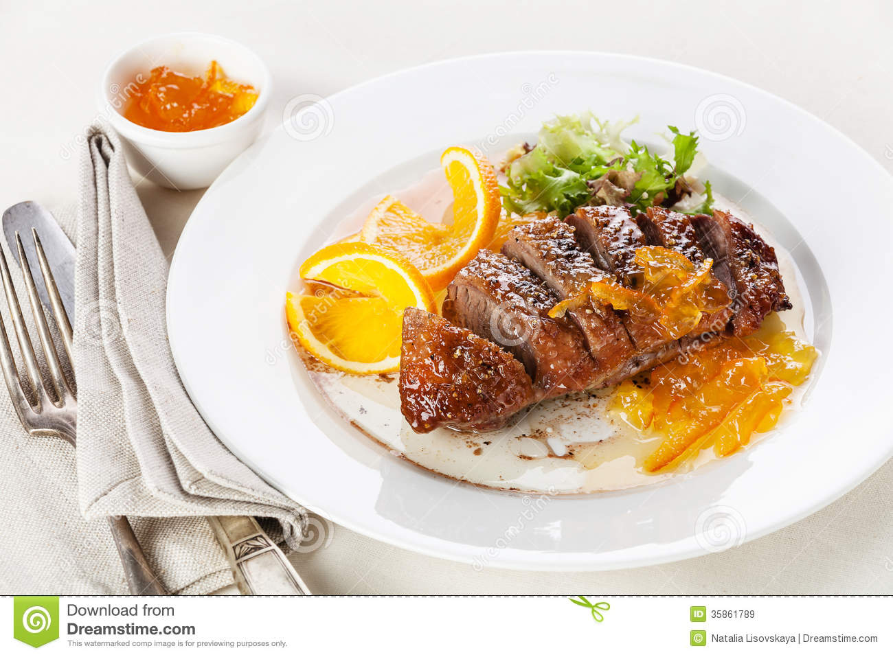 Duck Breast Orange Sauce Stock Photos, Images, & Pictures.