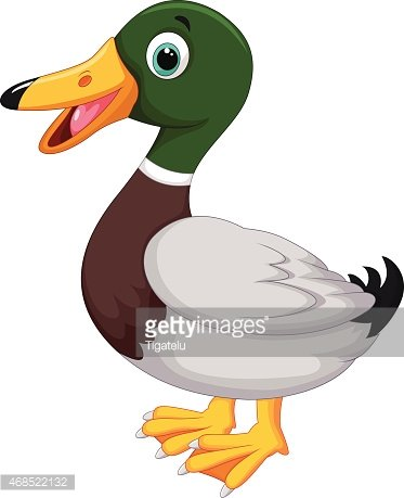 Cute cartoon duck Clipart Image.