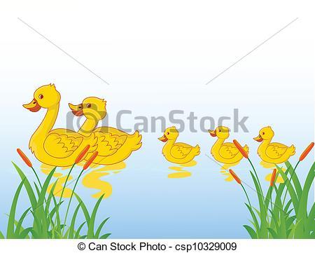 Vector Clipart of funny cartoon duck family.